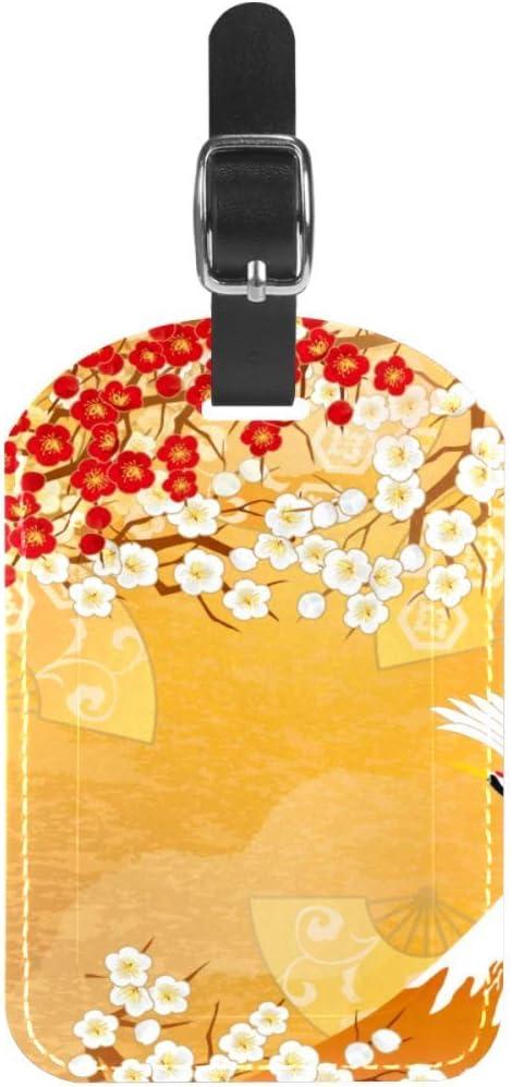 Etiquetas para Equipaje Etiquetas para Maletas de Viaje con grúas voladoras y Cuero Floral 1 Paquete