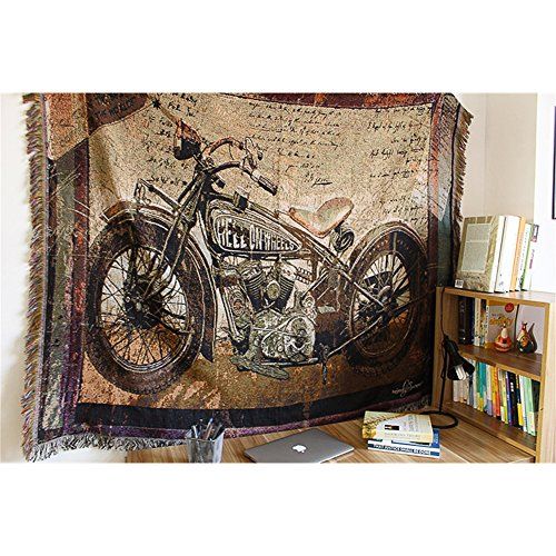Cotton Motorcycle Decor Tapestry Pattern Woven Couch Throw Blanket, Indian Home Hippie Hanging wall decor, Beach Throw, Table Runner/Cloth(63