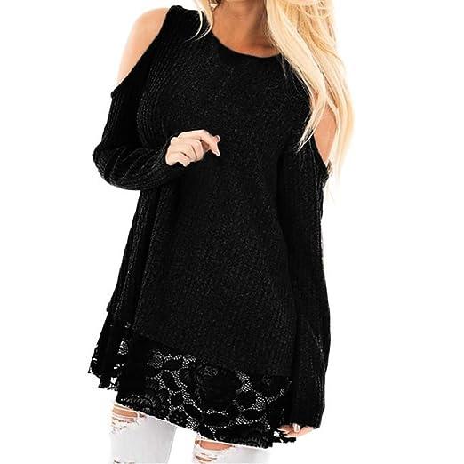 d21b540f6c2c9 Elogoog Women s Loose Casual O Neck Cold Shoulder Tops Long Sleeve Lace  Patchwork Blouses (Black