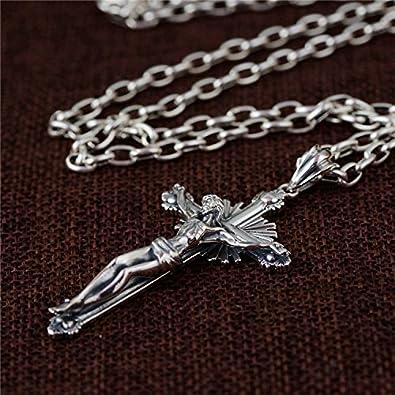 """925 Sterling Argent Crucifix Croix avec Jésus Collier Pendentif 24/"""" Figaro Chaîne"""