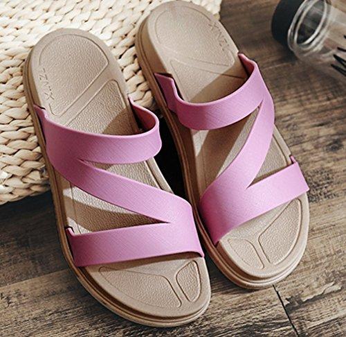 Cattior Womens Summer Open Toe Outdoor Slippers Beach Slide Sandals Purple VTW71te