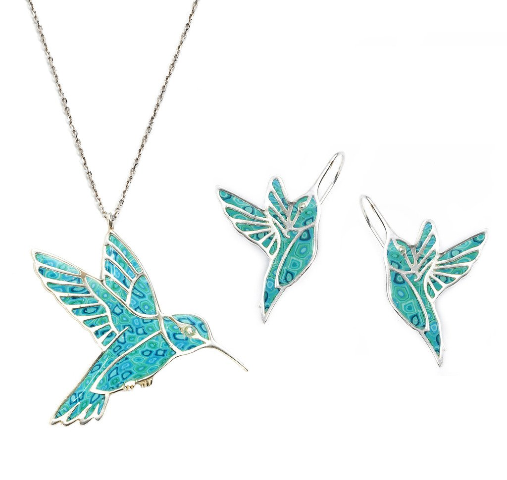 925 Sterling Silver Hummingbird Necklace Pendant and Earrings Sea Green Polymer Clay Bird Jewelry Set, 16.5'' Gold Filled Chain