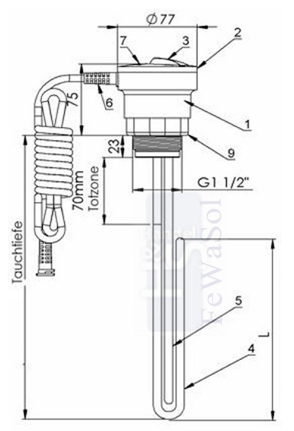 Elektro Heizpatrone EJK 2 kW Heizpatrone EJK mit isoliertem Heizelement und robustem Einschraubkopf f/ür Brauchwassererw/ärmer