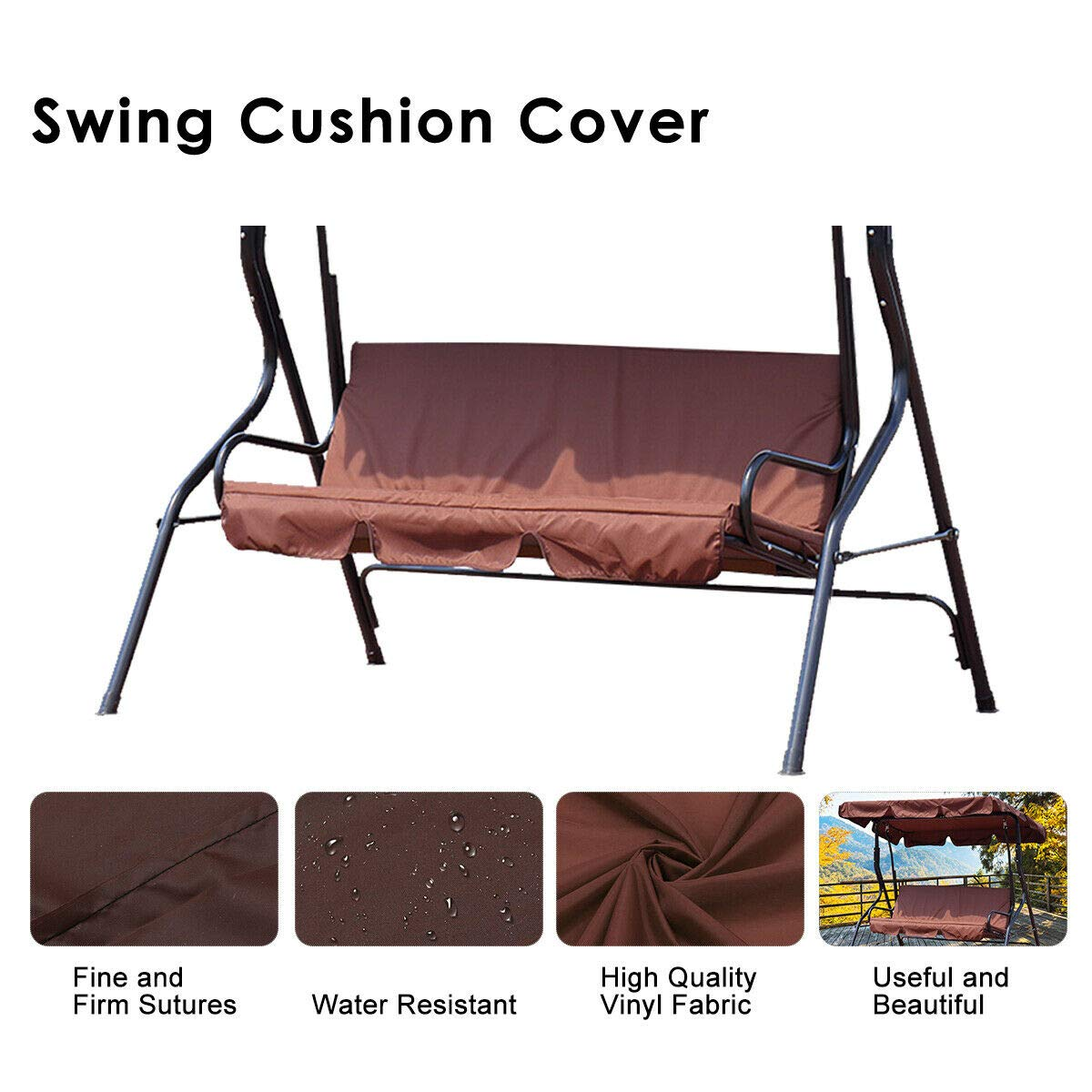 dDanke Patio Swing Cushion Cover Swing Seat Cover Replacement for 3 Seat Swing Chair Dustproof Protection 150X50X10CM, Cover Only (Brown) by dDanke
