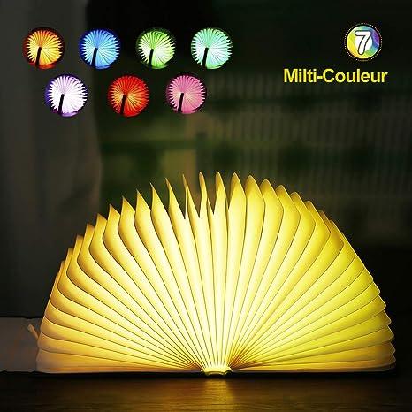 Lampe de livre LED, EVILTO Lampe de lecture pliante 7 couleurs Lampe de chevet Lampe LED magnétique 1800mAh Cuir PU Veilleuse Lumières Décoratives