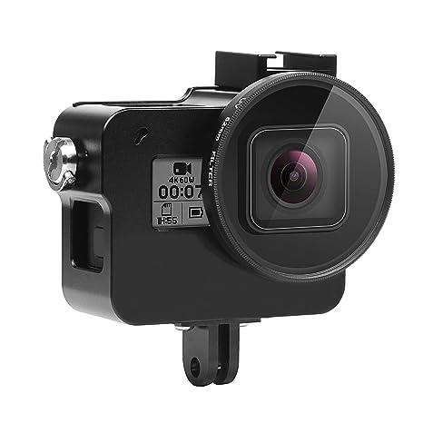 Shoot Funda Protectora de Aluminio para GoPro Hero (2018)/Hero 5/Hero 6/ Hero 7 Negro,Funda de Aleación de Aluminio con Filtro de Lente UV de 52 mm