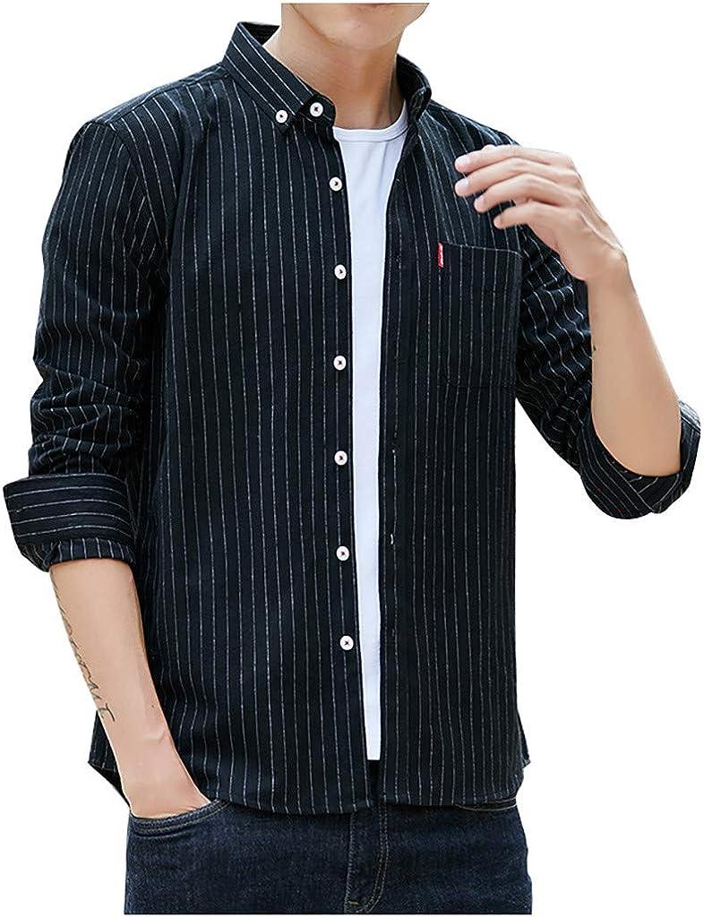 PARVAL Hombre Camisa a Rayas de Moda para Hombre Camisa a Cuadros con Botones Ocio Tops de Manga Larga Delgado Suave Moda cómoda Elegante Streetwear para el Ocio Fiesta de Bodas de