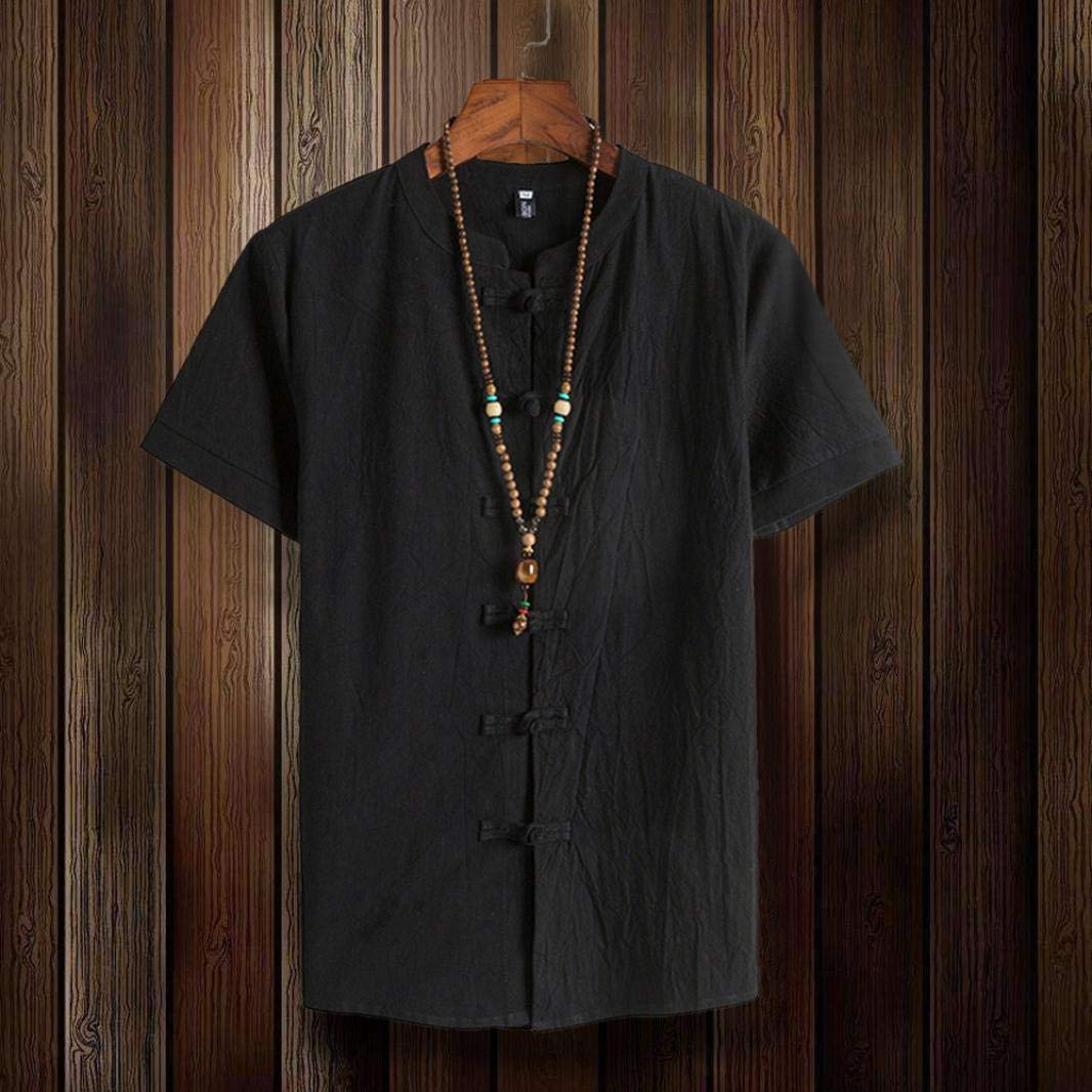 Amazon.com: kaifongfu Short Sleeve Shirt,Solid Color Cotton Men Shirt Tang Short Sleeve Button Tops: Clothing