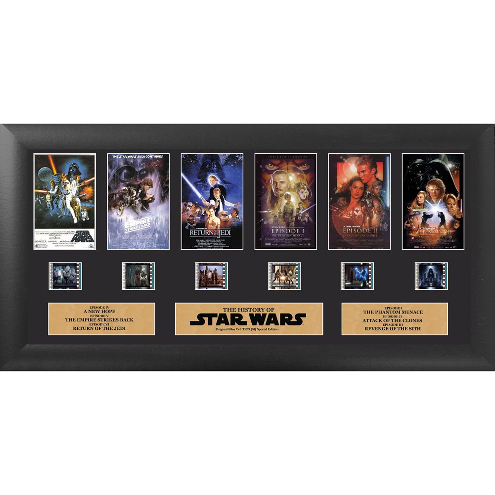 Filmcells Star Wars Through The Ages Episodes 1-6 Framed Wall Art with 35mm Film Clips