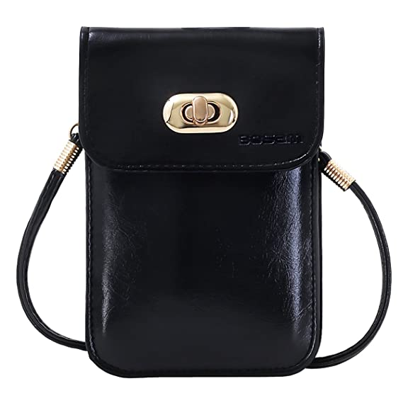 0a046ff2d61b Bosam Crossbody iPhone case and Strap, Cute Cellphone Wallet Phone Pouch  for Woman,Crossbody Bags (Black)