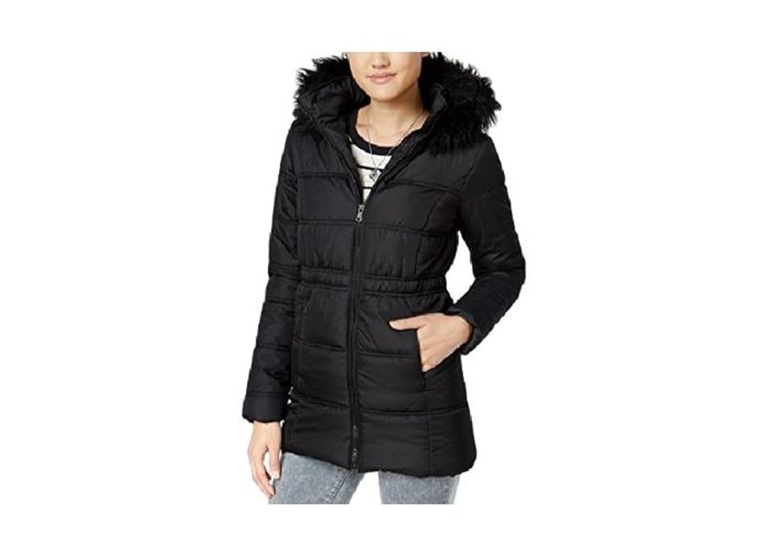 a5c6a4a3e Krush Women's Faux-Fur-Trim Hooded Puffer Coat Black Large at Amazon Women's  Coats Shop