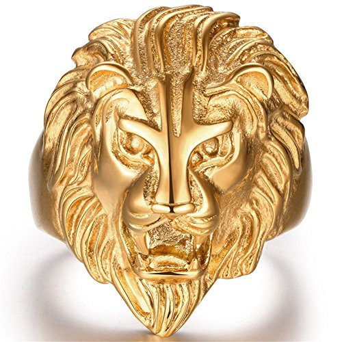 Stainless Steel Vintage Big 18k Gold Lion Head Punk Rock Gothic Ring Mens Biker Personalized Cool Band Size - With Big Guy Head