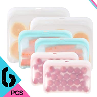 Eco Reusable Easy to Open and Close Silicone Food Storage New Bulk Bags Size Containers Cooking Bag Sets for Sous Vide Liquid Snack Lunch Freezer Microwave Silicone Storage Bags for Fruits Vegetables