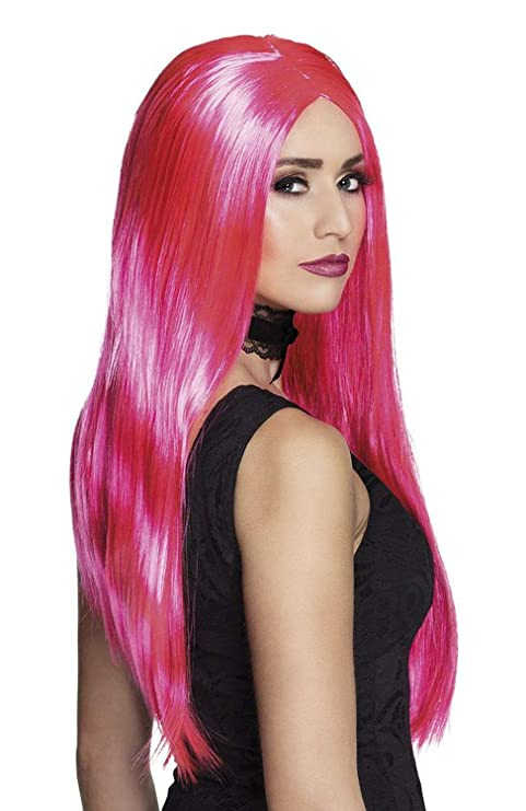 Boland 85998 Peluca Bruja Neon Color Rosa