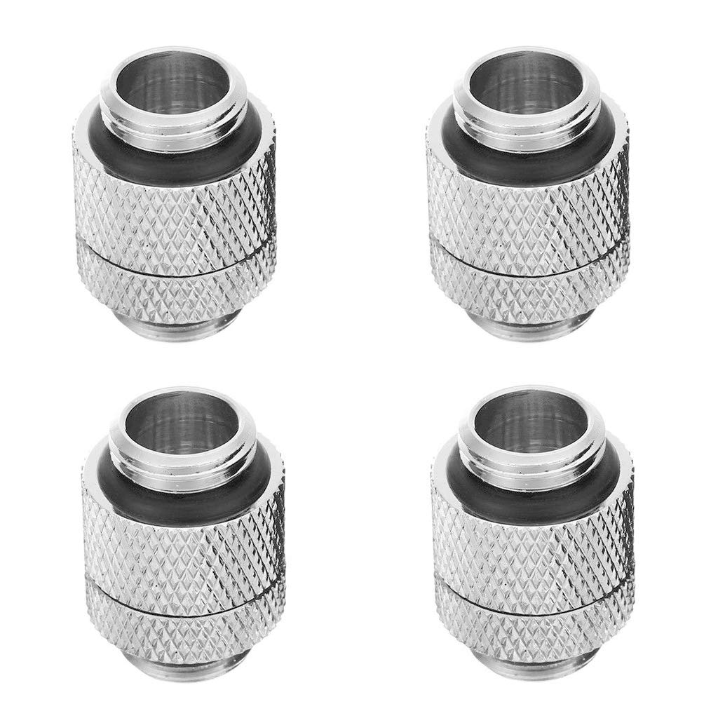 "GKanMore G1/4"" 10MM Male to Male Rotary Extender Fitting 13mm (1/2"") OD Hose Fitting Connector for Computer Water Cooling System, Silver, Pack of 4"