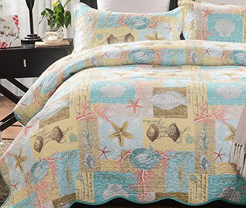 YOUSA Beach Theme Quilts 100% Cotton Comforter Shells Quilt Set ()