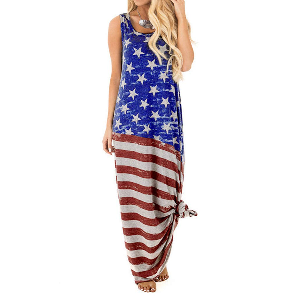 Women July 4th American Flag USA Print Sleeveless Patriotic Long Maxi Casual Loose Beach Dress Dark Blue