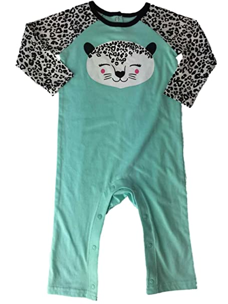.com: infant girls aqua black & white leopard cheetah animal ...