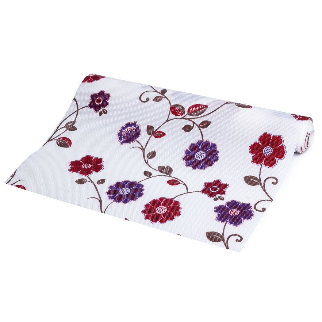 """Refrigerator Mats Non-Adhesive Shelf Liner for Kitchen Cabinets Fridge Pads Kitchen Drawer Liner 11.8"""" x 59"""" With Flower Pattern"""