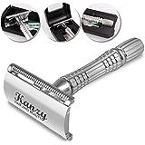 KANZY maquinilla de afeitar de doble filo - Afeitado manual – Safety Razor - Adecuado para todos navaja de afeitar - Caja con espejo interior (K-100). (Silver)