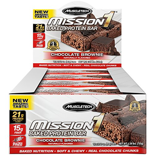 MuscleTech Mission1 Clean Protein Bars, Ultimate Baked Protein Bar, High Protein, Low Fat, Chocolate Brownie, 2.12 Ounce ,12 Count