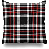 Starotor Red Black White Tartan Plaid Buffalo Check Red Shirt Black Border Square Decorative Pillow Case 20 x 20 inch Zippered Pillow Cover Bedroom Living Room