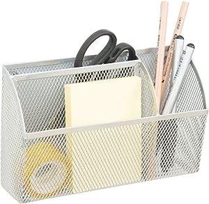 Lzttyee 3-Grid Metal Mesh Magnetic Organizer Storage Basket for Whiteboard/Refrigerator/Magnetic Surface, Silver
