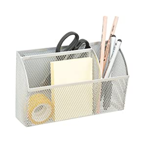Lzttyee 3-Grid Metal Mesh Magnetic Organizer Storage Basket for Whiteboard/Refrigerator/Magnetic Surface, Silver