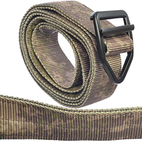 TacticShop Tactical Instructor Belt Heavy Duty Military Style Strong Double Layer of Nylon Webbing & Aircraft Aluminum V-ring Buckle (A-Tac Gray Camo Urban Camouflage, Large - 40 to 44