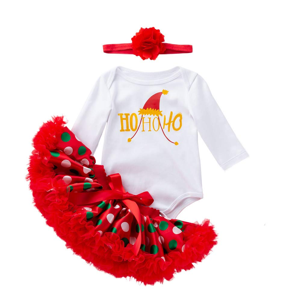 kaiCran 3PCS Newborn Baby Girls Cute Christmas Clothes Letter Print Romper+Tutu Skirt Headbands Outfits Set Fall Clothes