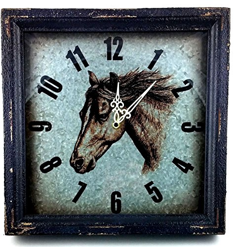 Horse Metal Wall Clock with Wood Frame, Glass Enclosed ()