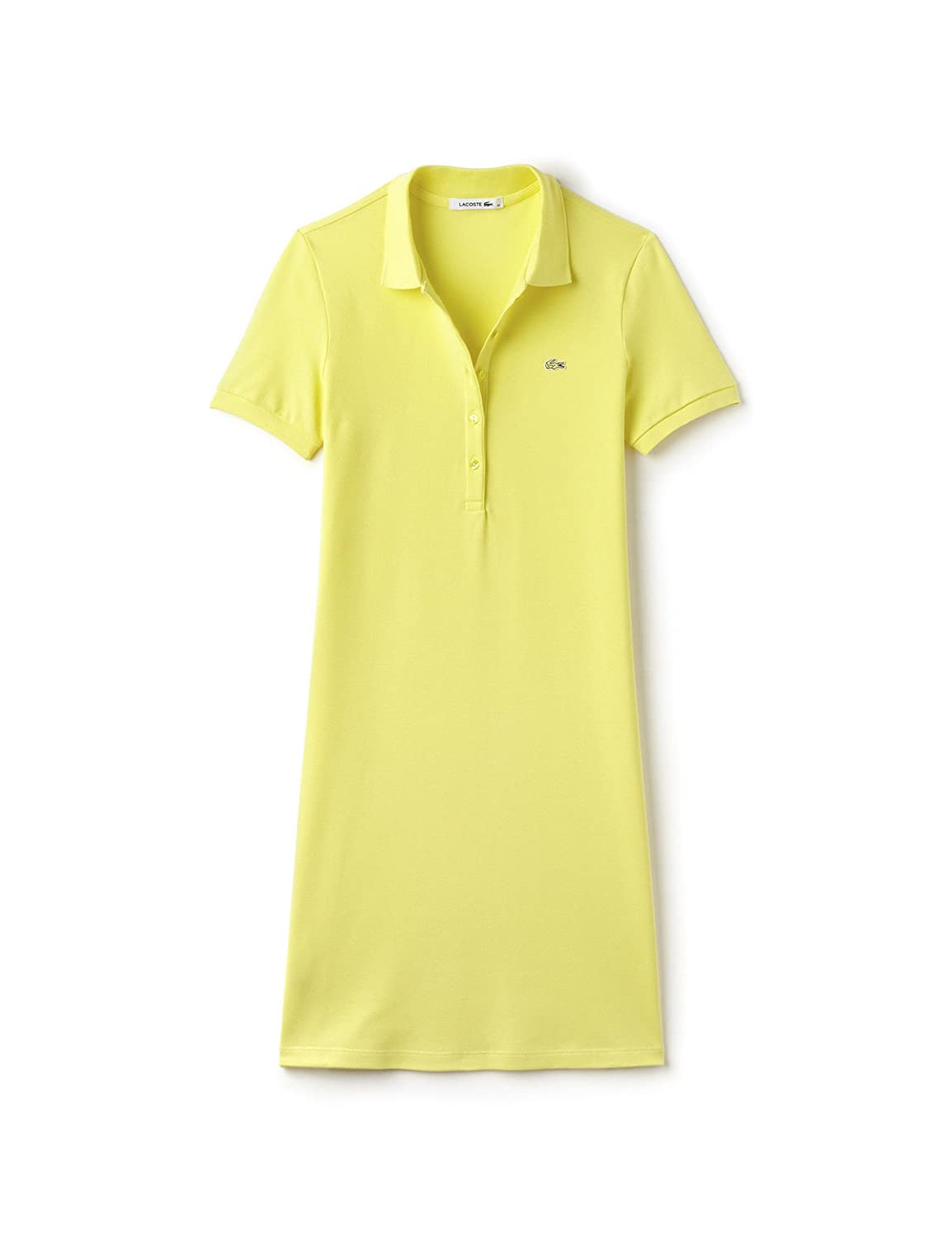 5c29125c06 Lacoste Women's Women's Yellow Pique Polo Dress with Logo. in Size ...