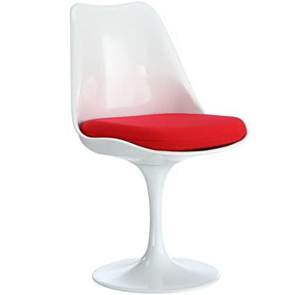 Modway Lippa Modern Dining Side Chair With Fabric Cushion In Red
