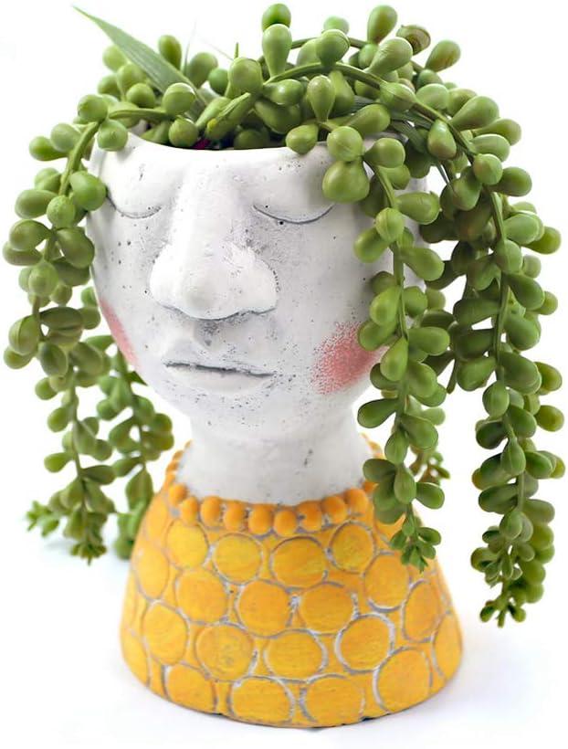 YIKUSH Head Planter Cement Flower Pot for Plant/Flower Planter - 6inches H,Set of 1