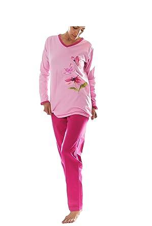 watch 41223 d8546 Damen Pyjama Schlafanzug Baumwolle Langarm DW955