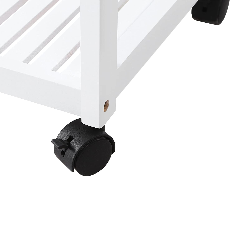 SONGMICS Carrello in Bamb/ù Scaffale Mobile a 3 Ripiani con Rotelle Bloccabili Trolley per Cucina Soggiorno Ingresso Dormitorio Bianco BCB63WN