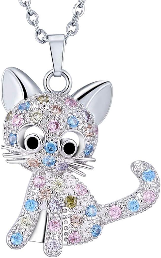 STERLING SILVER /& GREEN EMERALD CAT//KITTEN//FOX ANIMAL GEMSTONE PENDANT NECKLACE