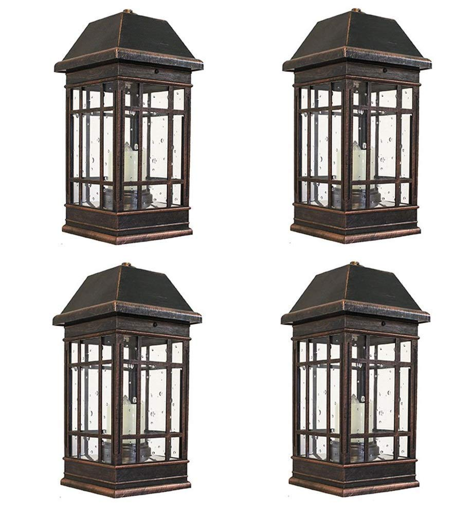 Smart Solar 3960KR1 San Rafael II Solar Mission Lantern Illuminated by 2 High Performance Warm White LEDs in The Top and One Amber LED in The Pillar Candle (Pack of 4)