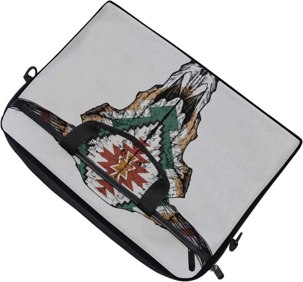 Briefcase Messenger Shoulder Bag for Men Women College Students Business Peopl Laptop Bag Bull Auroch Skull Horns On White 15-15.4 Inch Laptop Case