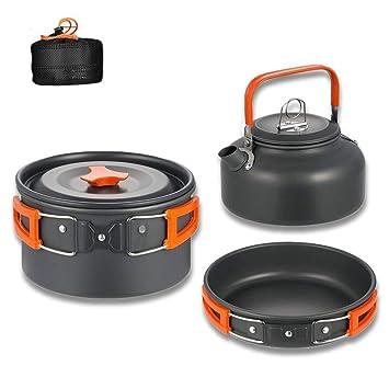 Aitsite Camping Kit de Utensilios de Cocina al Aire Libre de Aluminio Ligero Camping Pot Pan Set de Cocina para Acampar yendo de excursión (Naranja): ...