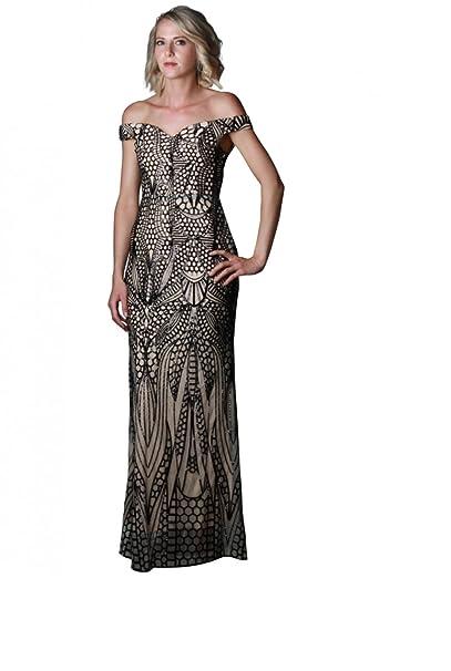 sale retailer 89d73 45fae abito da sera nero e paillettes beige - beige - XL: Amazon ...