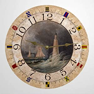 Lighthouse Wood Round Wall Clock, Rustic Wooden Clock Decor for Home Kitchen Bedroom Bathroom Office Living Room Dining Room.