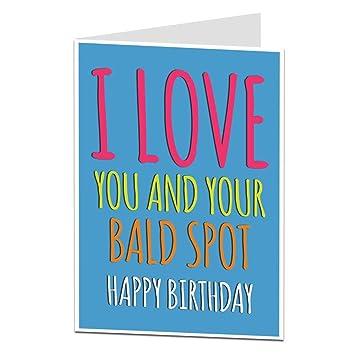 Funny Bald Hair Joke Birthday Card For Boyfriend Husband Or Dad