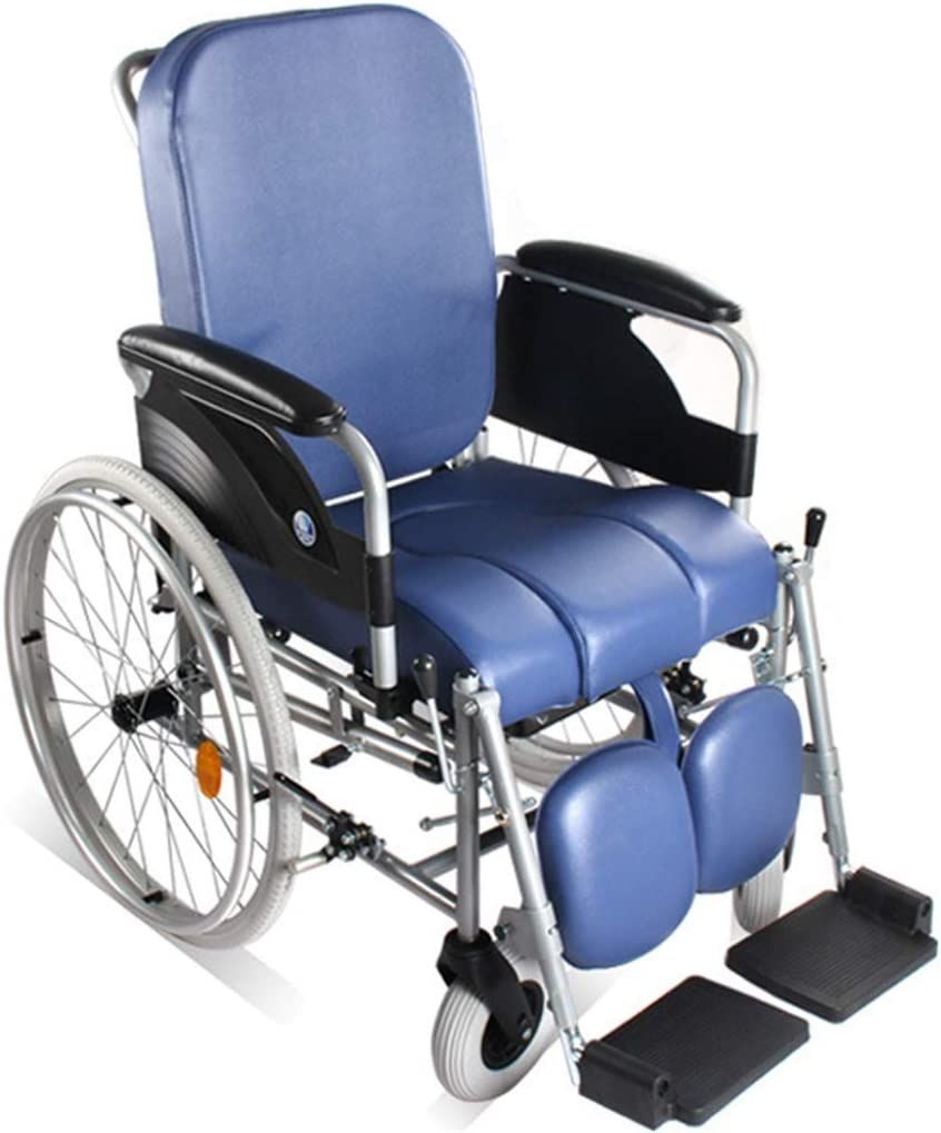 ZBYXZIGJ Luxury Wheeled Self Propelled Shower Commode Chair for Elderly Handicapped and Disabled Users Toilet for Bedside Bathroom Use Mobile Bedside Commode