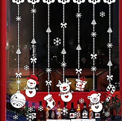 totomo christmas window decorations decals winter holiday clings stickers snowflakes snow snowman ornament w309 - Christmas Window Decorations Amazon