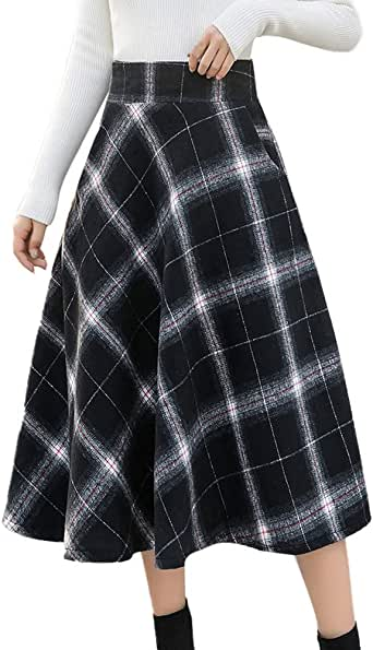 Lenfesh_Vestidos para mujer Elegantes Moda Falda Plisada a Cuadros ...