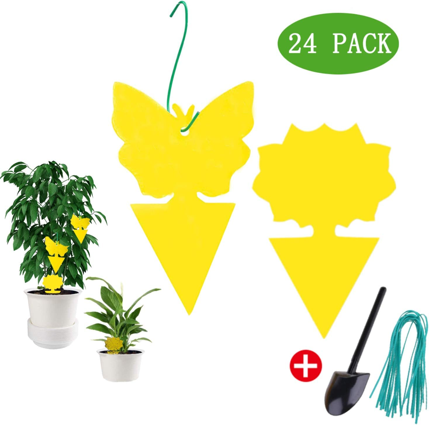 VIVIK Dual-Sided Yellow Sticky Traps,Fruit Fly Trap for Indoor/Outdoor Use(24 Pack),Gnat Trap Indoor,Waterproof,Fungus Gnat Killer for Indoor Plants,Non-Toxic and Odorless