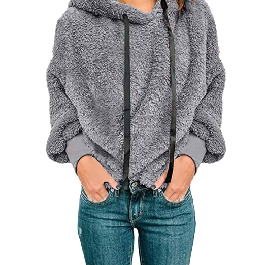 06241728a91 Image Unavailable. Image not available for. Color  Sunhusing Women s Hooded Zip  Pocket Long Sleeve Fleece Jacket Sweater Winter Warm Coat Outwear