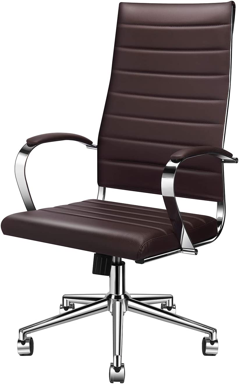 LUXMOD High Back Office Chair Brown, Ergonomic Office Chair in Vegan Leather, Ergonomic Desk Chair with Back Support, Highback Office Chair Brown Executive Chair, Manager Chair in Brown