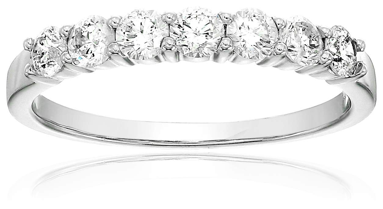 Vir Jewels Certified SI2-I1 1/2 cttw 7 Stone Diamond Wedding Band 14K White Gold Size 7 by Vir Jewels